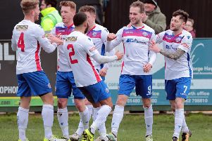 Jack Bowen takes the congratulations after he scored what proved to be the winner in AFC Rushden & Diamonds 2-1 victory over Needham Market at Hayden Road last weekend.  Picture courtesy of Malcolm Swinden Photography
