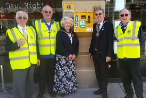 Members of the Peterborough Lions club (left to right) Bill Peacock, Richard Willis and Andrew Wilcox with Peterborough Mayor Chris Ash and Mayoress Doreen Roberts