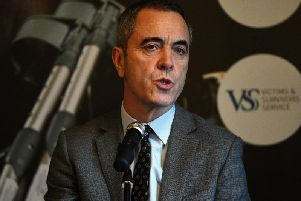 Actor James Nesbitt, patron of WAVE Trauma Centre, during the launch of the Injured On That Day photography exhibition, featuring men and women who were severely injured during the conflict in Northern Ireland.