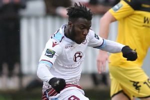 Daniel Ajakaiye took his goal tally for the season to 30 with a brace in Hastings United's 3-0 win at home to Ramsgate this afternoon. Picture courtesy Scott White