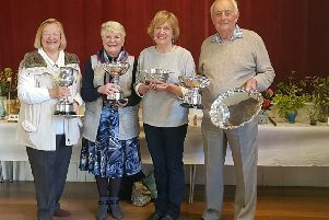 Winchelsea Spring Show 2019  Trophy winners.: John Dunk won the overall winners salver and the cup for flowers.  Jennifer Smith won the cup for floral art, Helen Macdonald the cup for pot plants, and Celia King the challenge bowl for cookery SUS-190417-091739001