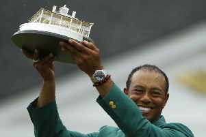 Tiger Woods celebrates his Masters win.