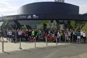 Tudors fans outside Watford FC's ground on Easter Monday who took part in the sponsored walk in aid of Hemel Town player Spencer McCall.