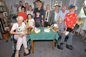 Two birthday celabrations at Grosvenor House Care Home in West St Leonards.''Molly Kitchen (left) age 97 and Norman Winter (right) age 102. SUS-190420-071814001