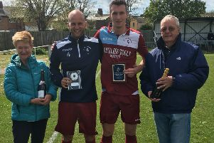 Little Common Football Club's joint players of the season Russell Eldridge and Liam Ward receive their awards from Gill Richardson and Sam Stevens