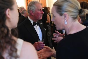 The Prince of Wales attending a reception at the British Ambassador's Residence, Glencairn House. Pic: Neil Hall/PA Wire
