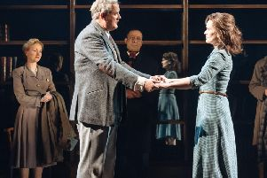 Lauren Hall, Hugh Bonneville, Emilio Doorgasingh & Liz White in CFT's Shadowlands Photo Manuel Harlan