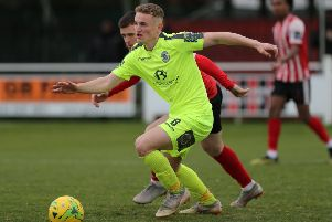 Adam Lovatt in action for Hastings United against Greenwich Borough on the final day of the 2018/19 regular season. Picture courtesy Scott White