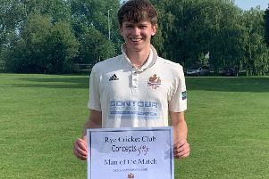 Tobias Farrow was Rye Cricket Club's man of the match in the victory against Rottingdean