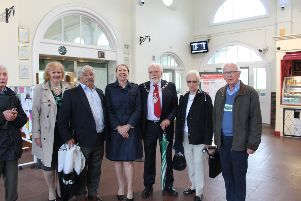 L-R: Yolanda Laybourne (co-ordinator of the event), Cllr Doug Oliver, Angie Doll, Cllr Terry Byrne, Cllr Deirdre Earl-Williams, Hugh Sharp (chairman of Bexhill Rail Action Group)