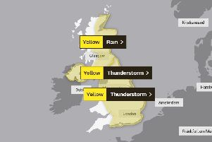 Thunderstorm warning for the UK. Photo: Met Office
