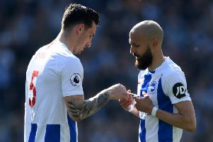 Bruno hands Lewis Dunk the armband last season