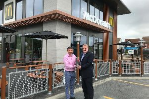 Matthew Jarrett and McDonald's director of franchising Jason Hall at the opening of the new restaurant at Morrisons in Peterborough, at the Brotherhood Retail Park.