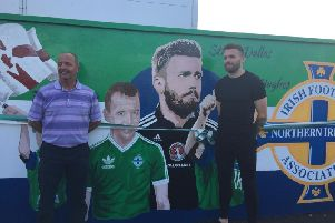 Ray McCoy and Stuart Dallas at the mural in Millburn Park.