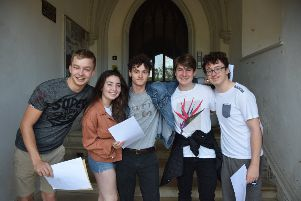 Students from Battle Abbey School with their results SUS-190815-113041001