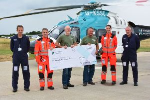 L-R: Captain Al White, Dr Clinton Gibbs, Ted Evans, Keith Taylor, paramedic Sam Taylor and Captain Blaine Ashurst