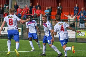 Ryan Dove shows his delight after he scored his first goal for AFC Rushden & Diamonds to earn them a 1-1 draw at Redditch United. Picture courtesy of HawkinsImages