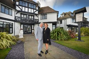 James and Lesley Kimber pictured outside The Cooden Beach Hotel