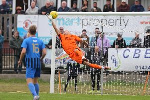 Ryan Worrall's stunner gives Hastings United the lead v Sevenoaks Town. Photo by Scott White.
