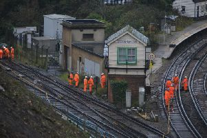 Network Rail engineers working atBoPeep Junction near West St Leonards Station. Photo: Justin Lycett