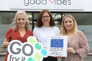 Co. Tyrone mumpreneurs - Joanne Gallagher and Stephanie Rice  launched Good Vibes in their hometown of Strabane, after identifying a gap in the market for alternative and holistic treatments in the town, thanks to support from the Go For It Programme in association with Derry City and Strabane District Council.'Pictured with Stephanie Rice (left) and Joanne Gallagher (right) and with their business advisor, Orla McNulty, Strabane Enterprise Agency (Centre).