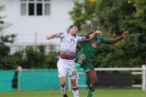Gary Elphick scored a headed brace on Tuesday night. Picture by Scott White.