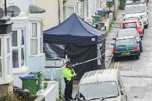 Police at the scene in Newhaven today