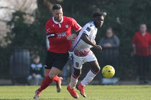 Daniel Ajakaiye in action for Hastings United in last season's home clash with Ramsgate. Picture by Scott White