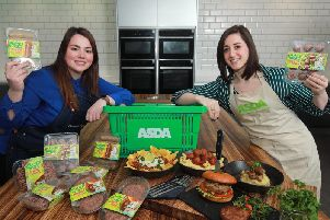 Sarah Savage, NPD Manager at Finnebrogue and Emma Swan, Asda's Buying Manager for NI Local check out the plant-based range