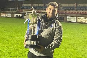 Loughgall boss Dean Smith with the Mid-Ulster Cup. Pic courtesy of Loughgall FC.