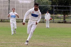 Cropredy's Saim Hussain races after the ball against Sandford St Martin