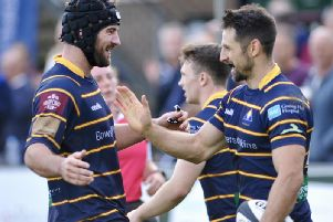 Raiders celebrate a try on Saturday. Picture by Stephen Goodger