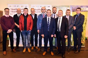 Pictured are speakers Doug Dear, John Yeomans, Joe Milligan, Jamie Robertson, Sean Fee, Paul McHenry, Dr Barry McInerney, Ivor Ferguson, Ian Stevenson and Francis Breen