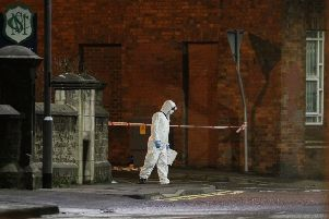 Police investigators at the scene of a stabbing incident in Coleraine in the early hours of Monday morning. Pic by Steven McAuley/McAuley Multimedia