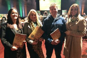 Foyle Sinn Fein MP Elisha McCallion with local Councillors Aileen Mellon and Sandra Duffy, and Conor Heaney.