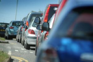 Temporary traffic lights are causing delays