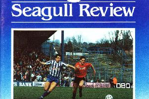 The front cover of the programme when Brighton played Watford in 1989