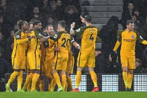 Brighton celebrate before it went horribly wrong at Craven Cottage. Picture by PW Sporting Photography