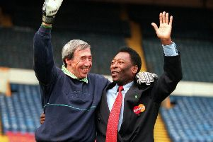 Gordon Banks pictured with Pele at Wembley Stadium in 2000. Picture by Clive Mason/ALLSPORT