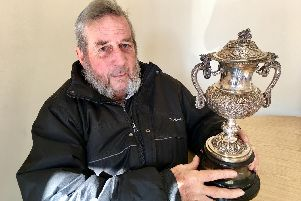 Colin Treagus, 78, with the mystery sports cup