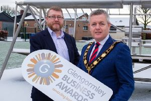 The Mayor, Cllr Paul Michael at the launch of the Glengormley Business Awards with Iain Patterson, Chair of Glengormley Town Team and Chamber of Commerce.