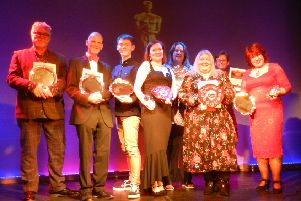 Award winners and their representatives at the Southwick Players' SPOSCARS awards ceremony for the 2018 season