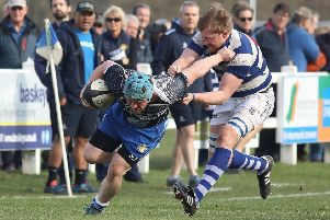 Lions hooker Jack Askham is collared by a Tynedale opponent. Picture: Mick Sutterby