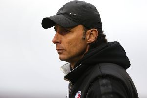 NORTHAMPTON, ENGLAND - FEBRUARY 16: Crawley Town head coach Gabriele Cioffi looks on during the Sky Bet League Two match between Northampton Town and Crawley Town at PTS Academy Stadium on February 16, 2019 in Northampton, United Kingdom. (Photo by Pete Norton/Getty Images) SUS-190221-085217001