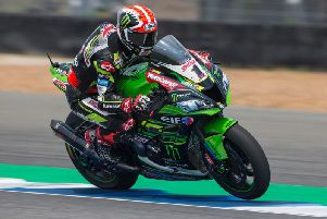 Jonathan Rea had to settle for the runner-up spot on his Kawasaki in the opening race in Thailand.
