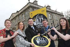 Mayor of Derry City and Strabane District, Councillor John Boyle, today officially launched the programme for the City of Derry Jazz Festival which takes place May 2nd  6th. Pictured along with the Mayor at Prehen House, which is one of over 70 venues included in the programme, are Event Co-Ordinator with Council, Andrea Campbell, Stephen Thompson from Diageo, Lewis Hamlon and Ciara McErlean from Magee University Jazz Big Band.