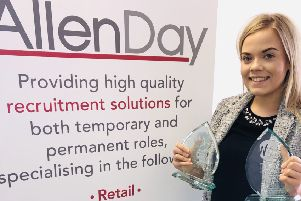Robyn with her awards from the Bedfordshire Business Woman of the Year awards