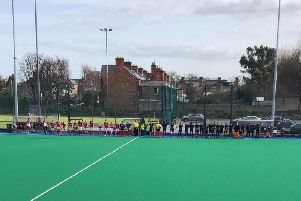 Cookstown and Pembroke players observe a  one minute silence before their EY Hockey League fixture on Saturday in memory of the victims of the Greenvale Hotel tragedy on St Patrick's Day.