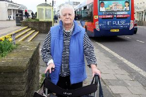 Jean Baltzer at the bus stop in Worthing. Photo by Derek Martin