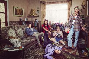 l-r:  Dylan (James Maguire), Michelle (Jamie-Lee O'Donnell),  Clare (Nicola Coughlan), Erin (Saoirse Monica-Jackson), lying on floor - Orla (Louisa Clare Harland)